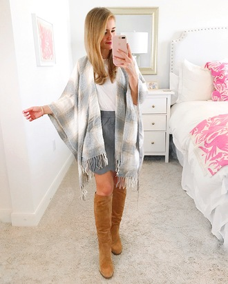 a lonestar state of southern blogger skirt shoes shirt jeans boots fall outfits grey skirt knee high boots