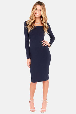 Blue Dress - Bodycon Dress - Long Sleeve Dress - Midi Dress - $39.00