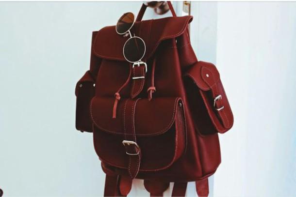 bag leather bag red bag burgundy bag backpack