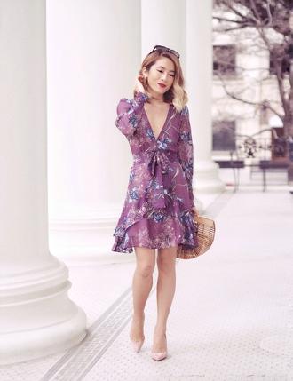 laminlouboutins blogger dress shoes bag jewels sunglasses lavender dress cult gaia bag pumps purple dress spring outfits spring dress