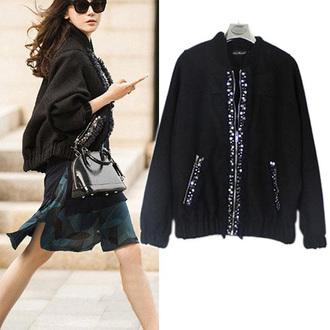 coat black coat fashion cool jacket warm top winter jacket warm coat clothes popular jumpsuit girl noble and elegant classy women beautiful beauty new