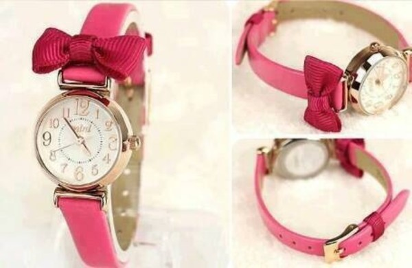 jewels watch pink bow