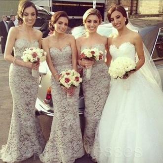 dress prom dress prom gown grey dress fishtail dress lace dress