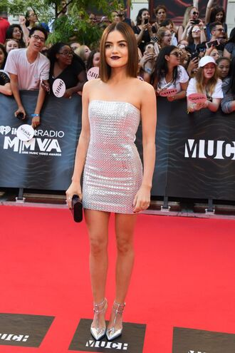 dress mini dress strapless dress silver metallic metallic shoes pumps lucy hale clutch red carpet party dress silver shoes bustier dress pretty little liars mmva awards bag