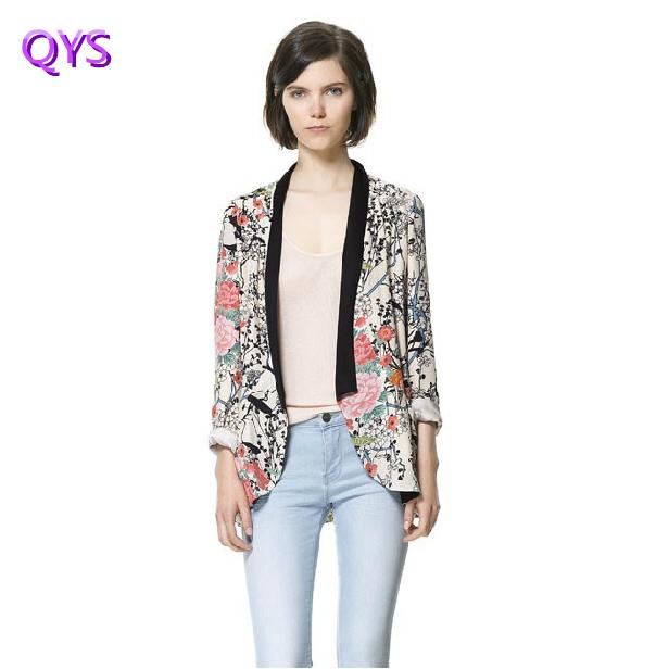 Le printemps et l'automne nouveau style européen hit couleur floral fleur imprimer casual veste kimono