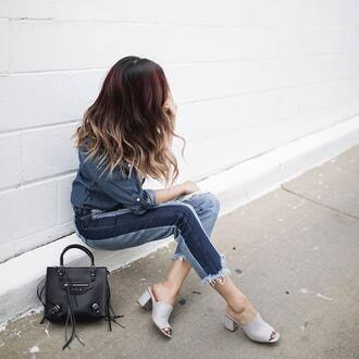 jeans tumblr patchwork blue jeans denim denim shirt shirt mules grey shoes bag black bag shoes