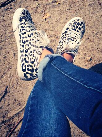 shoes black and white lepoard print sneakers