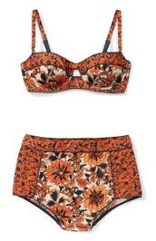 swimwear,orange,high waisted bikini,tribal pattern,high waisted,orange swimwear,black swimwear,style,indie boho,floral,bikini