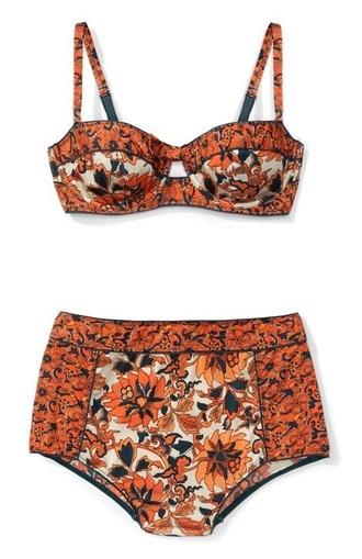 swimwear orange high waisted bikini tribal pattern high waisted orange swimwear black swimwear style indie boho floral bikini