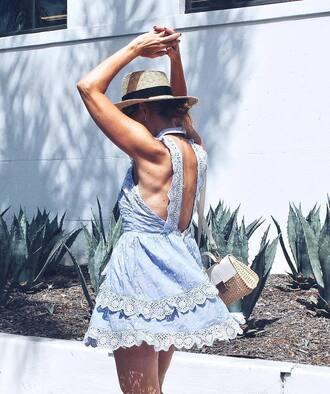 top hat tumblr blue top mini dress lace dress open back backless backless dress sun hat sexy sexy dress open back dresses