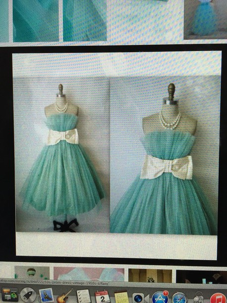 dress bow bow dress teal blue dress vintage