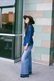dylana suarez,blogger,top,jeans,hat,wide-leg pants,flare jeans,felt hat,denim shirt