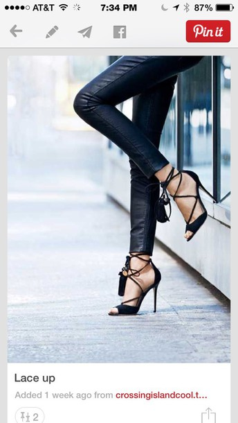 shoes black lace up heels