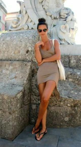 tan dress racerback dress