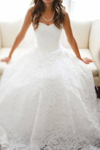 wedding dress, lace wedding dress, dress, lace dress, white wedding ...