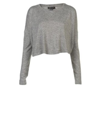 top long sleeves grey sweater white sweater looe rib loose crop top grey white crop tops sweater