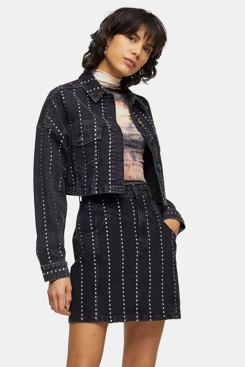 Studded Black Denim Hacked Off Jacket - Washed Black