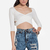 DailyLook: Open Back Crisscross Crop Top in White XS - M