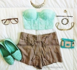 shorts shirt high waisted shorts clothes shoes hipster brown blouse mint slippers mint green shoes brown shorts rayban wayfarer