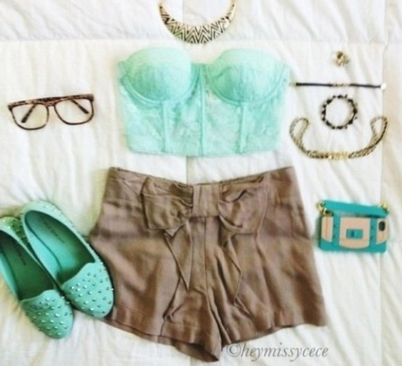 blouse clothes shoes mint slippers mint green shoes High waisted shorts brown brown shorts hipster rayban wayfarer shirt shorts