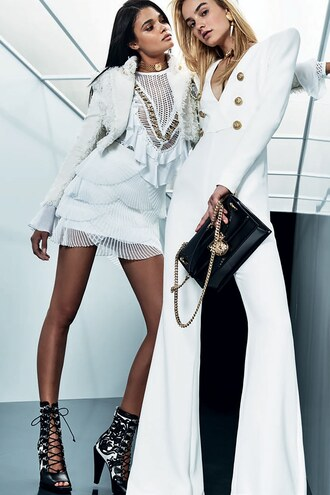 jumpsuit white white dress white pants balmain paris fashion week 2017 model