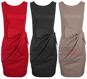 DRAPE BOW BODYCON DRESS LADIES SLEEVELESS PARTY SHIFT BLACK ...