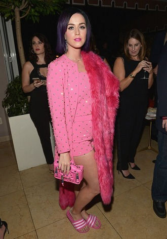 bag purse katy perry pink coat fur coat shorts slippers