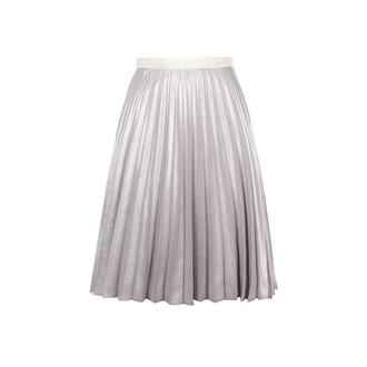 skirt metallic skirt pleated skirt silver skirt midi skirt