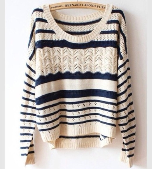 sweater knitted blue white long sleeve stripes