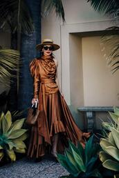 hallie daily,blogger,shoes,coat,bag,top,brown dress,gown
