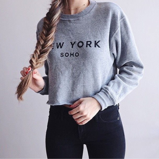 sweater sweat new york grey sweater nail polish soho pale trendy indie hipster grey grey black white jeans cozy comfy winter outfits new york city girl