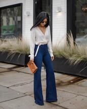 jeans,tumblr,denim,blue jeans,flare jeans,blouse,white blouse,wrap top,shirt,white shirt,polka dots,bag,brown bag