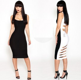 2014 new fashion elegant black white patchwork hollow bodycon bandage dresses sexy clubwear club wear jumpsuits women KM086-in Dresses from Apparel & Accessories on Aliexpress.com
