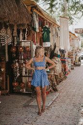 skirt,mini skirt,blue skirt,polka dots,polka dot skirt,wrap skirt,matching set,top,blue top,crop tops,shoes,sandals