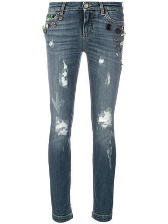 jeans women plastic embellished cotton blue