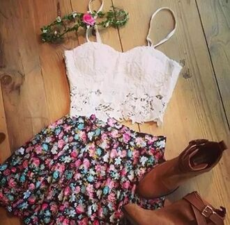 top lace floral floral skirt white crop tops boots booties bralette bustier white crop tops