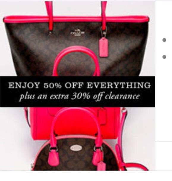 bag dark brown coach pink