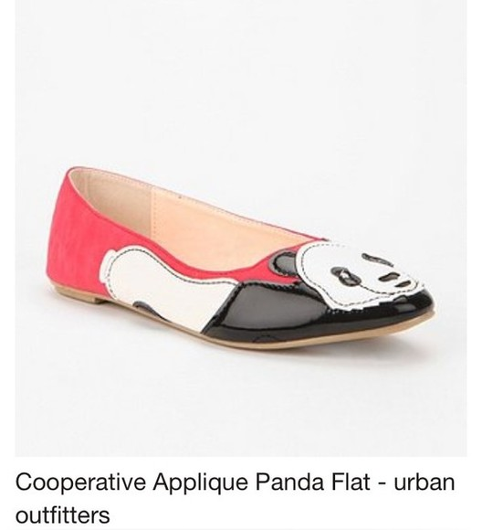 shoes flat coral pink panda cooperative flat giant panda shoe flats arrow urban outfitters