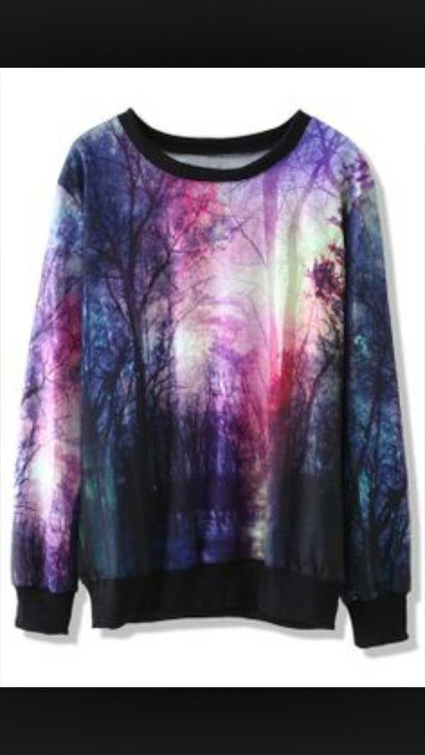 galaxy print sweater style purple and blue purple cute