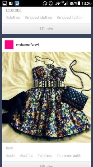 blue dress floral dress rocker chic