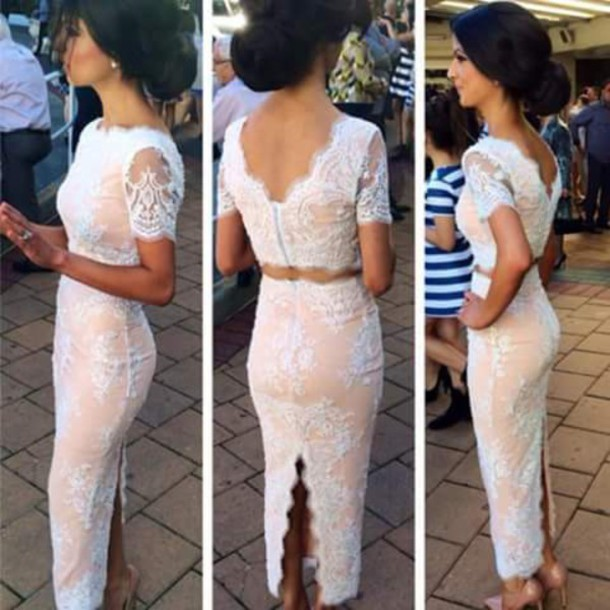 dress two-piece skirt top lace lace dress lace skirt lace top hair accessory