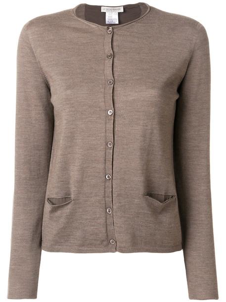 LE TRICOT PERUGIA cardigan cardigan long women spandex silk wool brown sweater