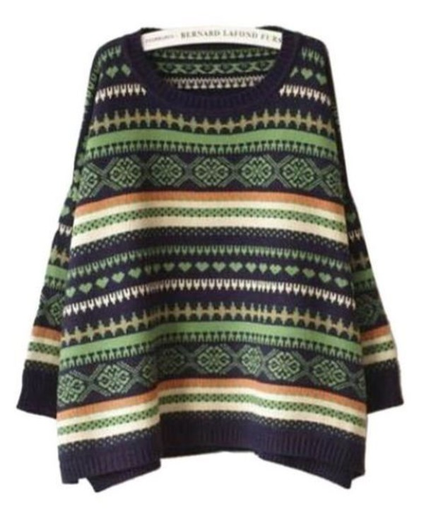 one size sweater multi color sweater geometric pattern sweater batwing sleeves aztec sweater www.ustrendy.com colorful