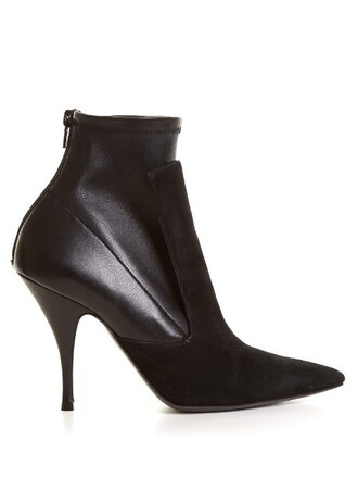 heel high boots ankle boots leather suede black shoes