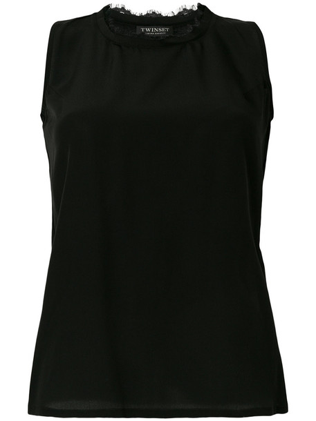 Twin-Set vest women cotton black silk jacket