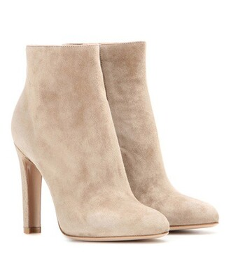 suede ankle boots high boots ankle boots suede beige shoes
