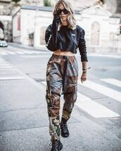 shoes,black sneakers,military style,sports pants,cropped hoodie,black sunglasses