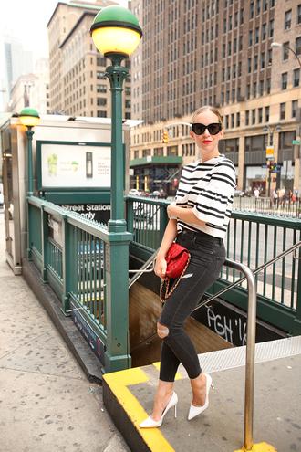 brooklyn blonde blogger zara striped top