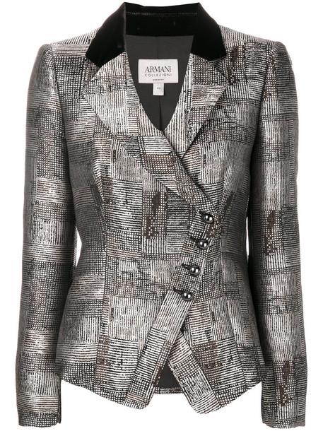blazer women grey metallic jacket