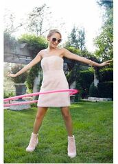 dress,nicole richie,ankle boots,mini dress,nude,nude dress,shoes,editorial